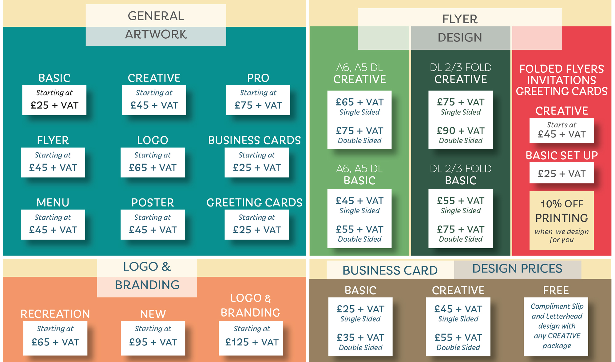Price list the print design business card price list design prices reheart Choice Image